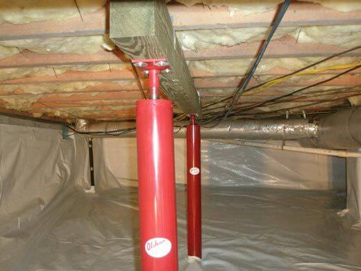 crawl space encapsulation and adjustable support posts