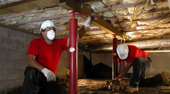 crawl space support column installation