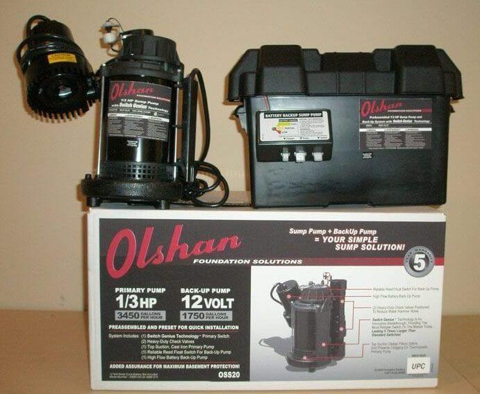 olshan battery backup sump pump system
