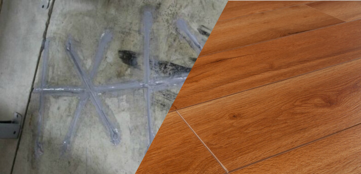 Cracked concrete covered with laminate flooring