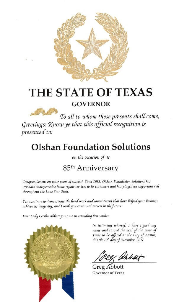 olshan foundation repair offically recognized by the state of texas