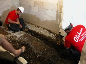 drainage installation for crawl space encapsulation job