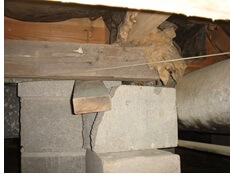 Failing support beams under crawl space